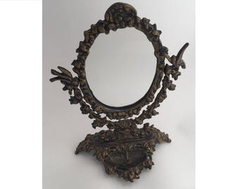 Vintage Victorian Style Cast Iron Swivel Mirror with Heart-Shaped Jewelry Tray