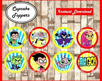 Teen Titans Go cupcakes toppers, printable Teen Titans Go party toppers, Teen Titans Go cupcakes toppers