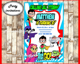 Teen Titans Go Invitation, printable Teen Titans Go Birthday Invitation,Teen Titans Go invitation