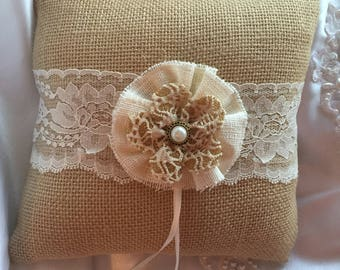 Burlap Ring Bearer Pillow Lace Rustic Wedding Decor
