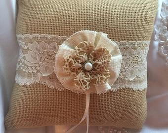 Burlap Ring Bearer Pillow Lace Rustic Wedding Decor