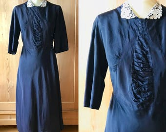 1940s rayon taffeta navy dress, lace collar