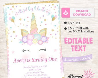 Unicorn Invitation, Magical Birthday Invitation, Unicorn Editable Invitation, Instant Download
