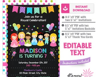 Editable Princess Birthday Invitation , Princess Birthday Invitation , Princess Invitation, Instant Download, Editable Pdf
