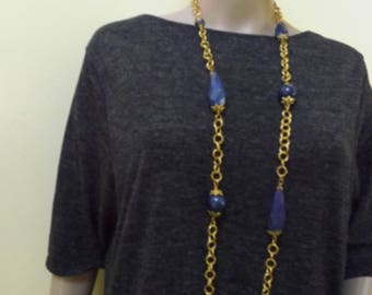 One of a kind natural lapis lazuli necklace and earrings set.