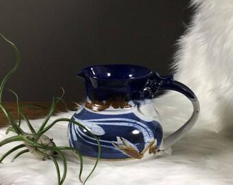 Midcentury Ceramic Pitcher / Blue Pitcher / Hand Made Pottery Pitcher / Vintage Pottery / Vintage Pottery Pitcher / Vintage Hand Painted