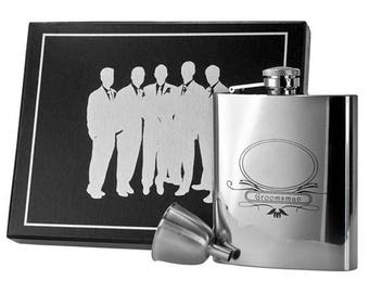 Set of 5 Personalized Groomsman Flask Sets, 8oz. Premium Quality Stainless Steel Hip Flask, Groomsmen Gifts, FREE SHIPPING • VSET59-1199
