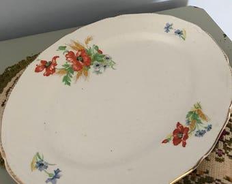 "Poppy Platter 10.5"" 8.5"" Plate Made In England"