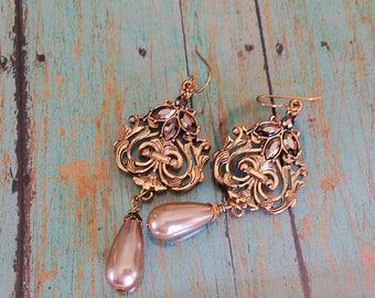 Gold and Taupe Earrings
