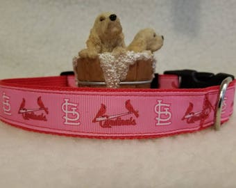 Pink Cardinals Handmade Dog Collar 1 Inch Wide Large & Medium