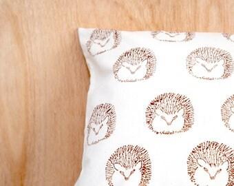 Brown Hedgehogs Block Printed Cushion