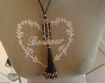 Navy Blue Suede necklace