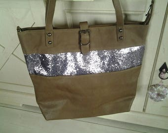 Bag has sequined on Taupe leather band