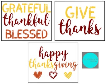 Thanksgiving Printables - (3) 8x10 Graphics