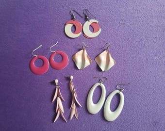 Totally 80s - New Wave Pink and White Earrings - Choice of 5 Different Styles! Classic 1980s Party Fashion - Unique! Great Condition!