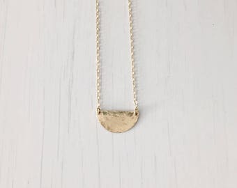 Mini half moon disc necklace - minimalist necklace - hammered moon necklace - gold half disc necklace
