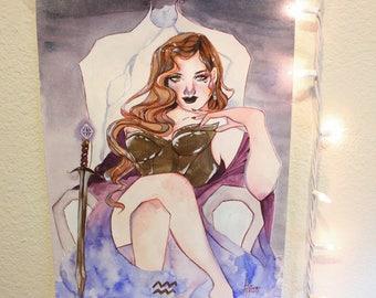 Aquarius - 11x15 Original Watercolor & Ink Painting