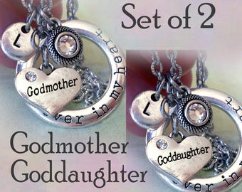 Set of 2 Godmother Goddaughter Necklaces, Forever in My Heart Personalized w-Letter Charms of Your Choice, Godmother Gift, Goddaughter Gift