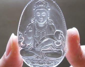 Natural Clear White Quartz Crystal Gemstone Blessing Guanyin Kwan Yin Goddess of Mercy Meditation Amulet Pendant
