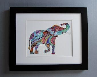 Zentangle elephant painting, colorful india elephant, watercolor painting of elephant, elephant home decor, elephant wall art, housewarming