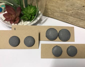 Grey fabric covered button earrings S,M,L