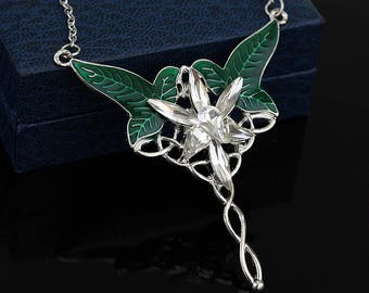 Elven pendant etsy arwen evenstar necklace green leaf necklace elven necklace lord of the rings aloadofball Gallery