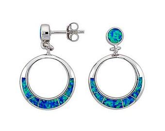 Sterling Silver Blue Opal Circle Dangle Earrings