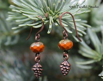 Pinecone Earrings, Czech Glass Earrings, Orange Earrings, Rustic Earrings, Rustic Jewelry, Pine cone Earrings, Pinecone Jewelry, Copper