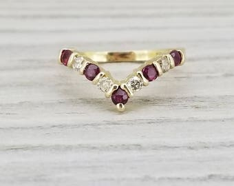14k yellow gold vintage ruby and diamond chevron ring