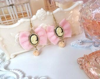 Vintage Cute Fluffy Cameo Earrings