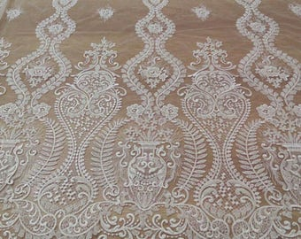Beaded lace fabric,Bridal Lace Fabric,Ivory Embroidered lace,Guipure lace fabric,Wedding dress lace,evening dress lace,french lace fabric