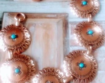 Vintage Southwest Copper Faux Turquoise Bracelet