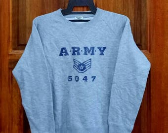 Rare!! ARMY sweatshirt pullover jumper crew neck spellout nice design grey colour medium size