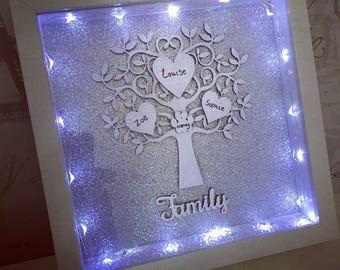 Family tree light up frame