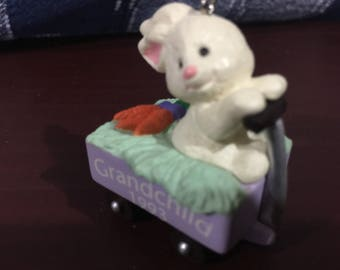 Vintage 1993 Grandchild bunny in a wagon with carrots Hallmark Keepsake ornament