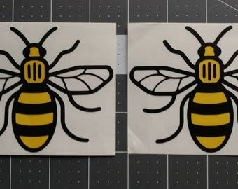 Manchester Bee Symbol Vinyl Decal two color great for your car truck window laptop cellphone tumbler notebook