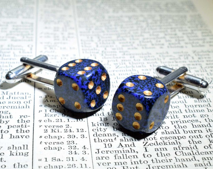 Blue Dice Cufflinks, Silver Plated Backs, Blue Acrylic Cufflinks, Birthday Gift, Anniversary Gift, Dice Jewelry, Dice Gift, Gift for Him