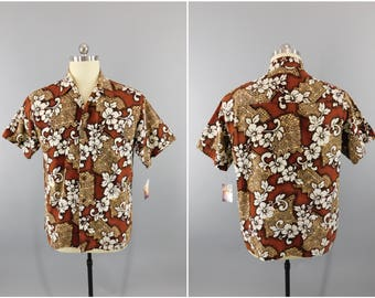 "Vintage 1960's Hawaiian Shirt / Bullhead / 60s Barkcloth Aloha Shirt / Floral Print Hawaii Shirt / Size XL 46"" Tall"