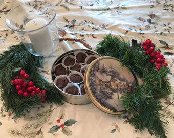 Chocolate Fudge in a Christmas Tin, Nut Free Chocolate Fudge, Chocolate Fudge in a Gift Box, Chocolate Christmas Candy, Corporate Gift