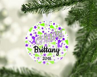 Cheer Dazzle Green/Purple Ornament