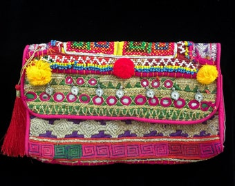 The Bohemian bag Multicolored treaded-Embroidered with mirror and coins