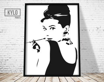 Wall Art, Home Decor, Audrey Hepburn Print, Instant Download, Audrey Hepburn Art, Fashion Print, Fashion Poster, Audrey Hepburn, Fashion Art