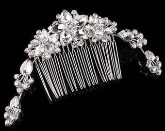 Luxury Floral Crystal Bridal Hair Comb