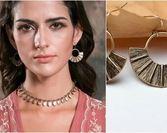 Vintage Style Golden Boho Fan Drop Earrings