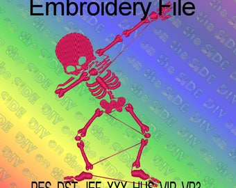 Dabbing Skeleton Halloween Dab On Em Machine Embroidery File 5x7