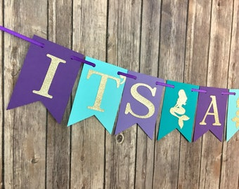 It's A Girl Mermaid Banner, Mermaid Baby Shower, Under the Sea Baby Shower, Photo Prop