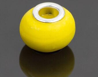 5 yellow opaque glass European beads