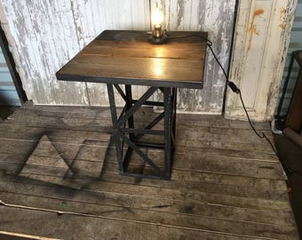 Eiffel style wood and steel table
