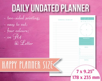 Daily undated Happly Planner, printable