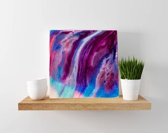 "12x12 abstract resin painting--""Saunter"" on a wooden panel"